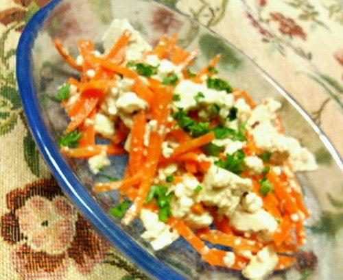 Tofu and Carrot Salad with Mentsuyu