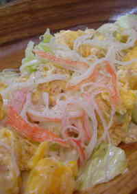 Lettuce Salad with Crab Stick and Egg Stir-Fry