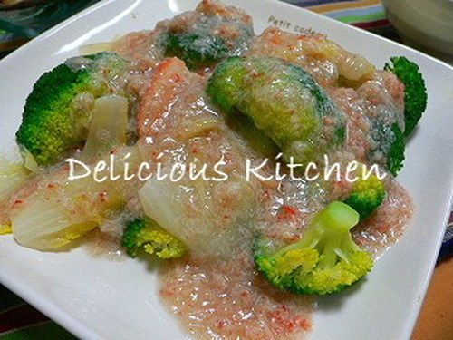 Broccoli and Chinese Cabbage in Crab Meat Sauce