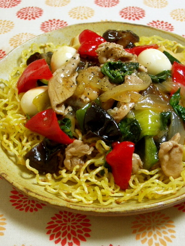 Crunchy Fried Noodles with Ankake Sauce