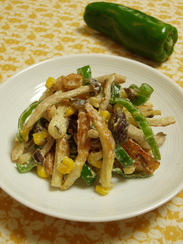Chikuwa and Bell Pepper Stir-Fry with Yuzu Pepper and Mayo