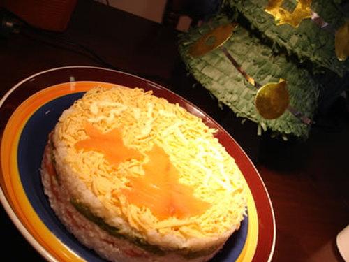 Simple Salmon & Avocado Sushi Cake