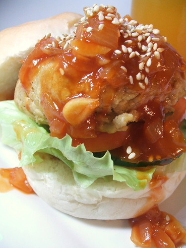 Vegetarian Burger with Sweet & Sour Sauce