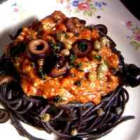 Pasta alla Puttanesca with Handmade Black Pasta