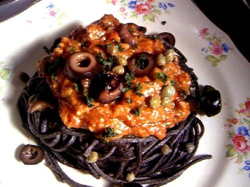 Pasta alla Puttanesca with Handmade Black Pasta