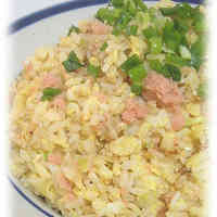 Salmon, Leek, and Green Onion Fried Rice