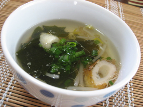 Bean Sprouts and Wakame in Umeboshi Kombu Tea Soup
