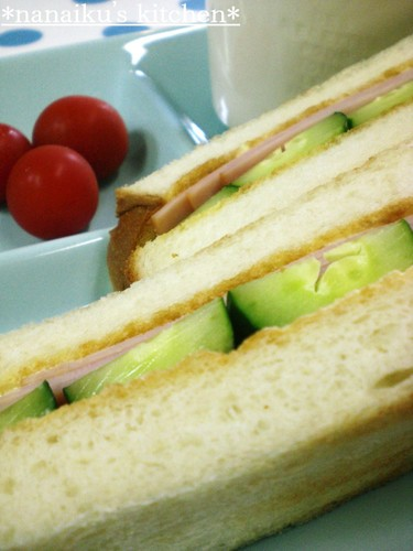 Kissaten Style Ham and Cucumber Toasted Sandwich
