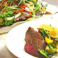 Steak With Lots of Vegetables- Wasabi Garlic Sauce