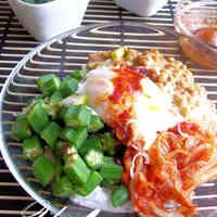 Okra, Natto, and Kimchi Rice Bowl