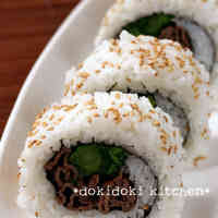 Broccolini and Beef California Rolls