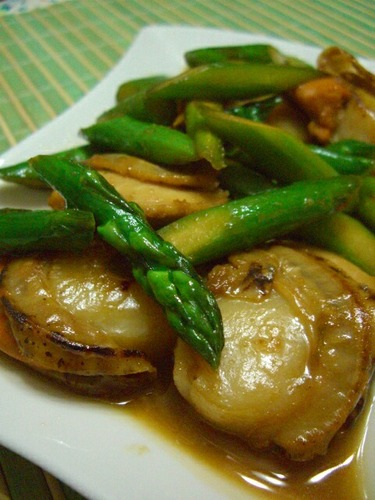 Scallops and Asparagus Stir-fried in Lemon, Butter and Soy Sauce