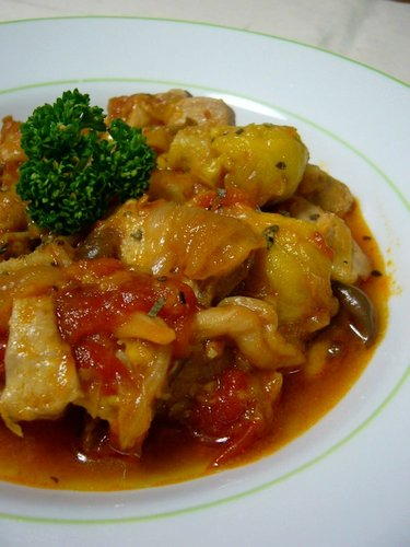 Use a Pressure Cooker - Simmered Chicken and Pork with Tomatoes