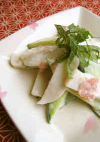 Kamaboko and Cucumber * Tossed in Umeboshi Mayonnaise Sauce