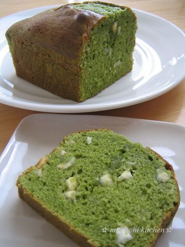 Matcha Milk Pound Cake with White Chocolate
