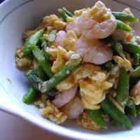 Egg, Shrimp and Asparagus Chaa (Stir-fry) with the Fragrance of Bonito