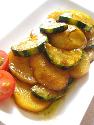Zucchini and Potatoes Marinated in Soy Sauce