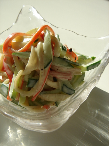 Cucumber and Imitation Crab Salad with Mayo