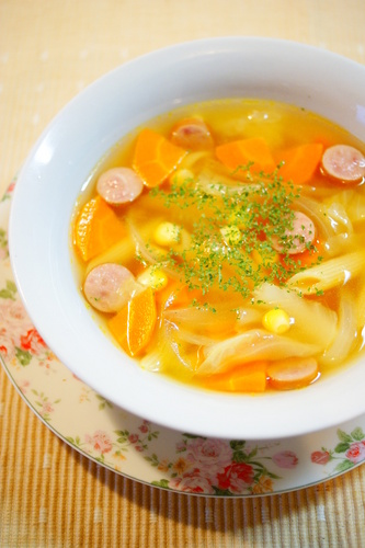 Consommé Soup with Penne