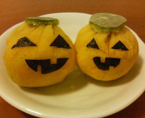[Easy Microwave Cooking] Halloween Kabocha Squash Chakin