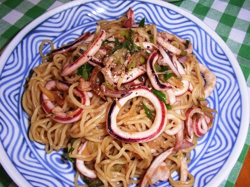 Simple Squid Yakisoba Stir-Fried Noodles Oyster Sauce