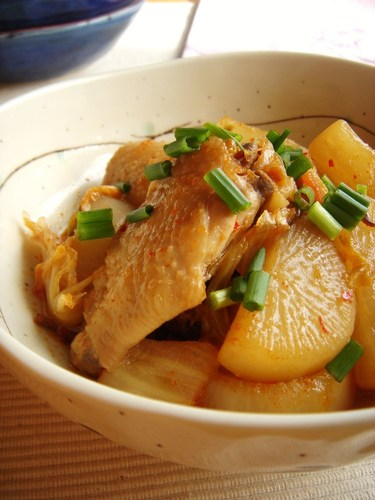 Chicken Wings Simmered with Daikon Radish and Kimchi