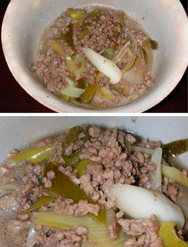 10-Minute Lightly Flavored Simmered Ground Meat and Japanese Leek