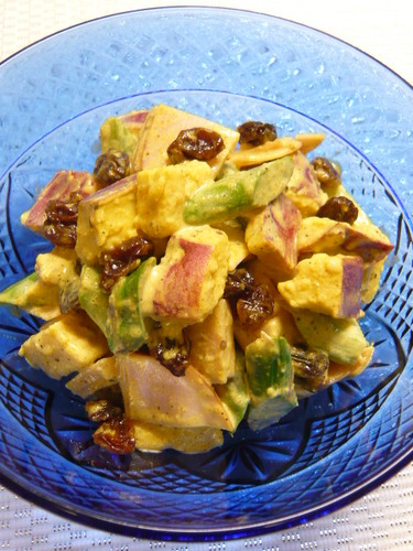 Curry Mayonnaise Salad with Raisins and Asian Sweet Potatoes