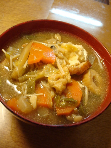 Kenchin soup in the training (Tofu, Pork, and Vegetable Soup)
