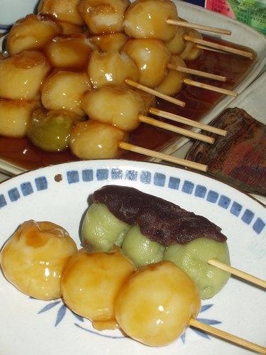 Traditional Japanese Mitarashi and Anko Mochi Dumplings