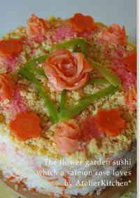Smoked Salmon Roses Flower Field Chirashi-zushi