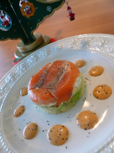 Layered Salmon and Avocado with a Thick Dressing