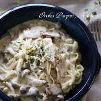 Soy Sauce Flavored Creamy Pasta with Mushroom and Bacon