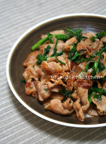 Crispy Pork and Chrysanthemum Greens Stir-Fry with Bonito Flakes