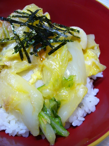 Rice Bowl with Egg and Chinese Cabbage