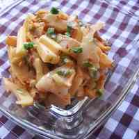 Chikuwa and Cheese in Kimchi-Mayonnaise Sauce