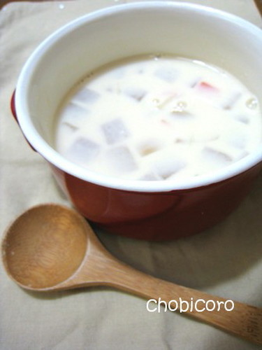 Miso and Soy Milk Soup with Chunky Vegetables
