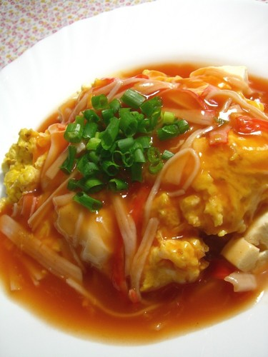Tofu with Imitation Crab and Eggs In Sweet and Sour Ketchup Sauce
