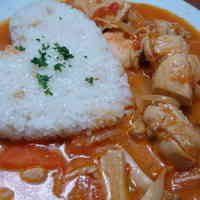 For Valentine's Day Boiled chicken with tomato cream