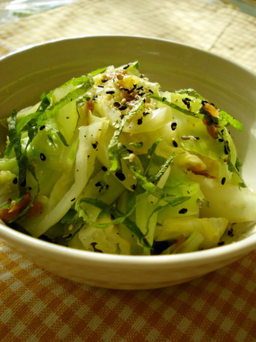 Easy Oil-free Boiled Cabbage with Umeboshi