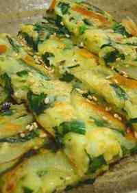 Jijimi (Korean Savory Pancakes) with Chinese Chives and Cheese
