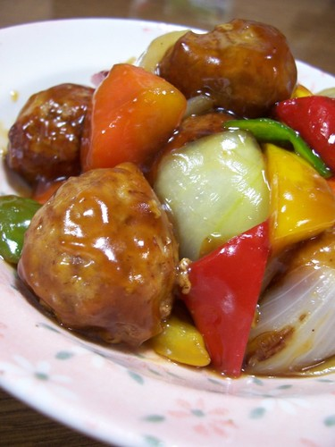 Yum! Sweet and Sour Pork Style Meatballs in Sweet Vinegar Ankake Sauce