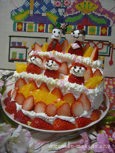 For Hinamatsuri (Doll's Festival): A Doll Tier Cake!