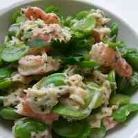 Fava Beans, Shrimp, and Scallops in a Basil Mayonnaise Dressing