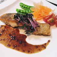 Sea Bream Pan Fried in Butter with Balsamic Vinegar and Yuzu Pepper Sauce