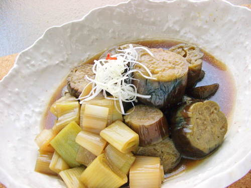 Simmered Eggplant and Japanese Leeks