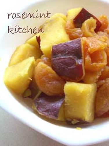 Sweet Potato and Apricot Simmered with Apple Juice (Macrobiotic)