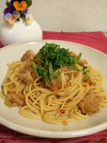 Spicy Chicken Spaghetti with Grated Daikon (Japanese Style)