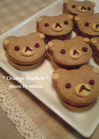 Cute Rilakkuma-Style Chocolate Sandwich Cookies