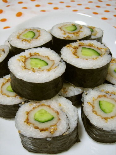 Chikuwa and Cucumber Sushi Roll